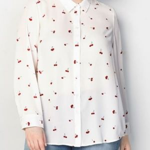 NWT Cherry Print Button Down Blouse from Avenue